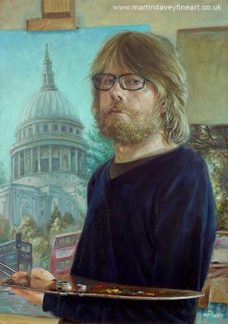 M P Davey self portrait art