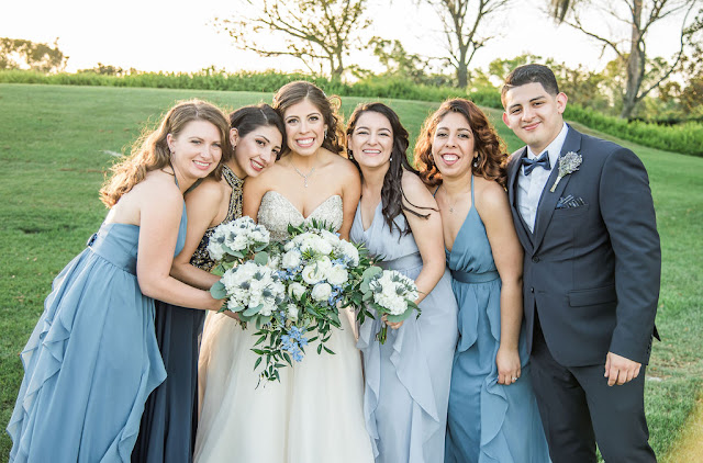 bride and bridal party in blue