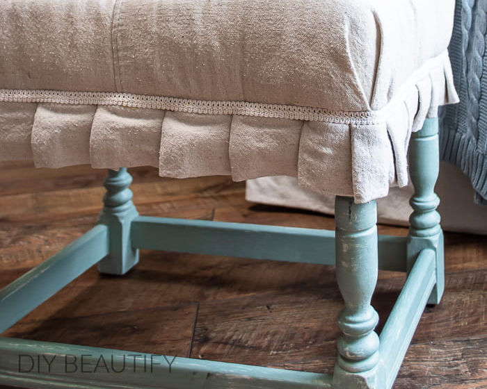 drop cloth covered footstool