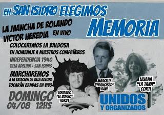 Homenaje a tres militantes asesinados en Villa Adelina