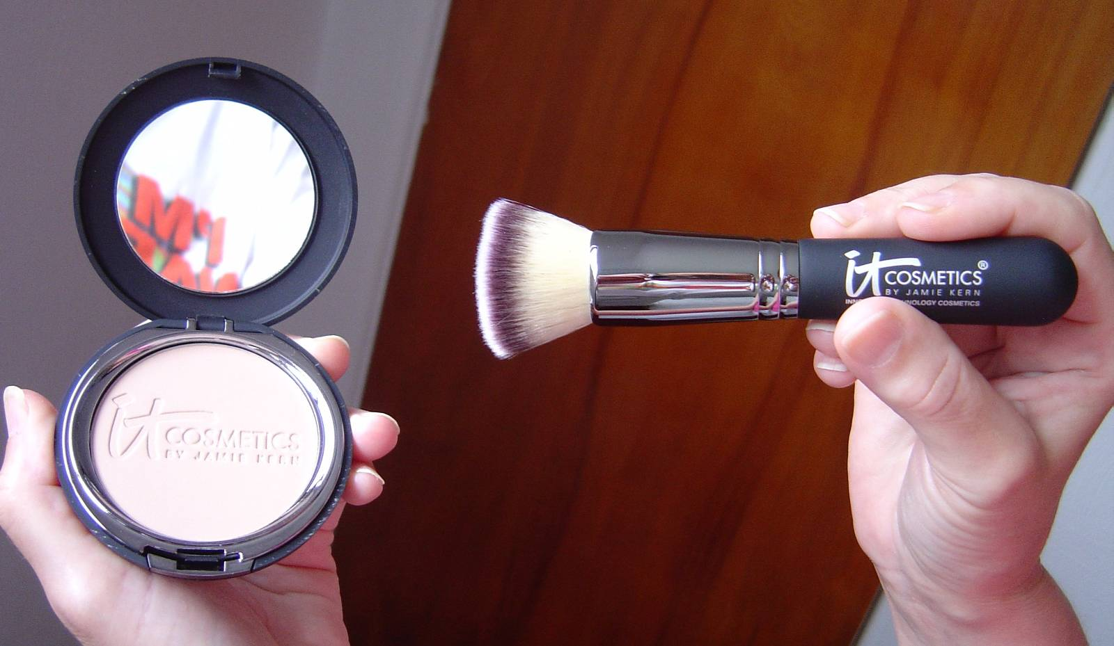 IT Cosmetics Celebration Foundation, opened and the Heavenly Luxe Buffing Airbrush Foundation Brush.jpeg