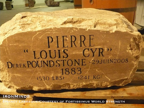 The Louis Cyr/Derek Poundstone 530 lbs natural stone. StrengthFighter.com