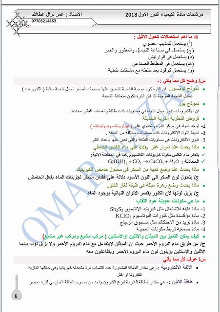 مرشحات الكيمياء للصف الثالث المتوسط للأستاذ عمر نزال عطا الله 2018 الدور الاول