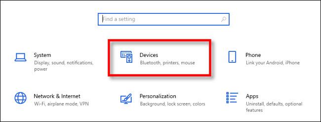 """في إعدادات Windows 10 ، انقر فوق """"الأجهزة""""."""
