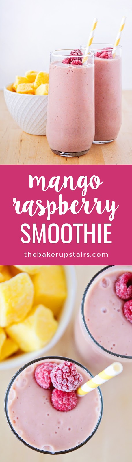 This refreshing and healthy mango raspberry smoothie is the perfect easy breakfast!