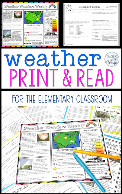 If you are in the middle of your weather study you are going to love this set. These weather reading comprehension sheets with informational text are great in so many ways. You will enjoy the ease of printing and being ready to read in minutes. #teachersareterrific