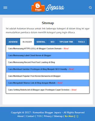 Cara Membuat Sitemap Blogspot Responsive