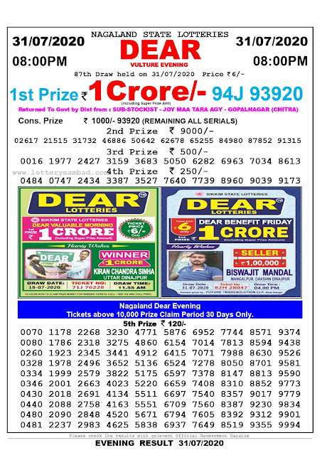 Lottery Sambad 31-07-2020 Nagaland State Lottery Result 08.00 PM