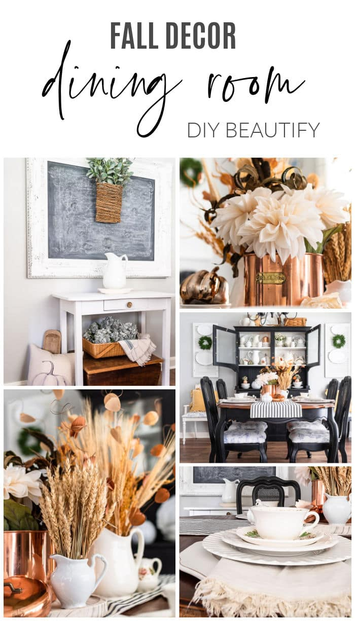 warm golds, white ironstone, vintage dishes and dried wheat in farmhouse fall dining room