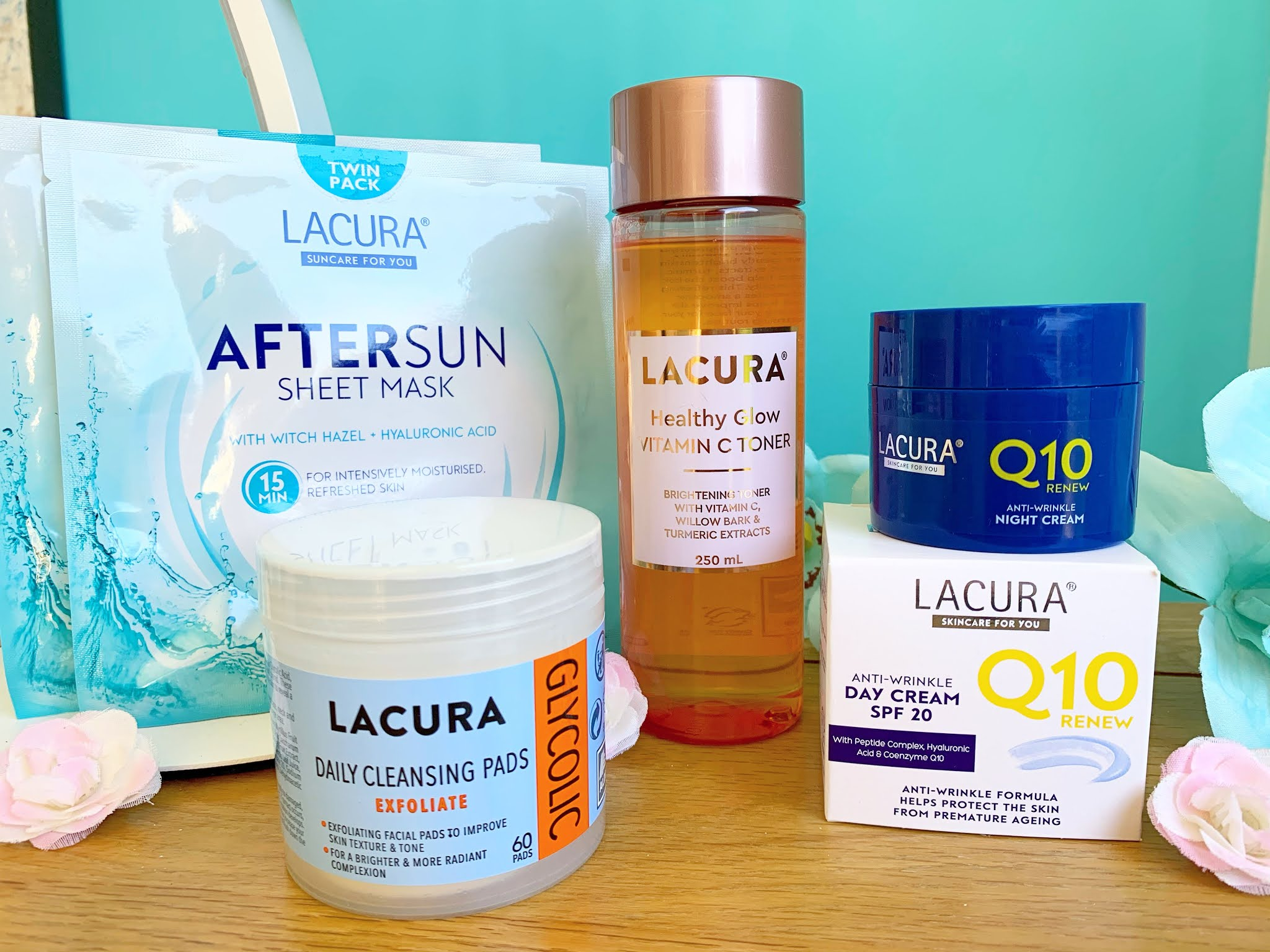 Lacura beauty products on a table