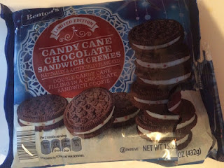 A package of Benton's Candy Cane Chocolate Sandwich Cremes, from Aldi