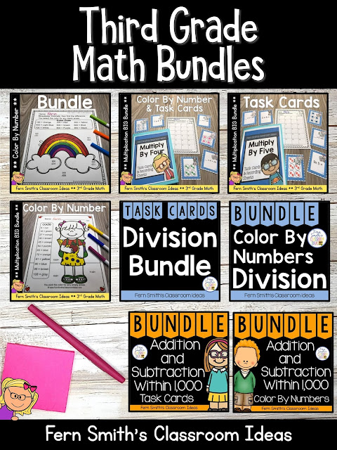 You can click on the link below to arrive at my TpT store already sorted for the grade level items you want for your class. Third Grade Go Math Bundles for Your Third Grade and Fourth Grade Students. #FernSmithsClassroomIdeas