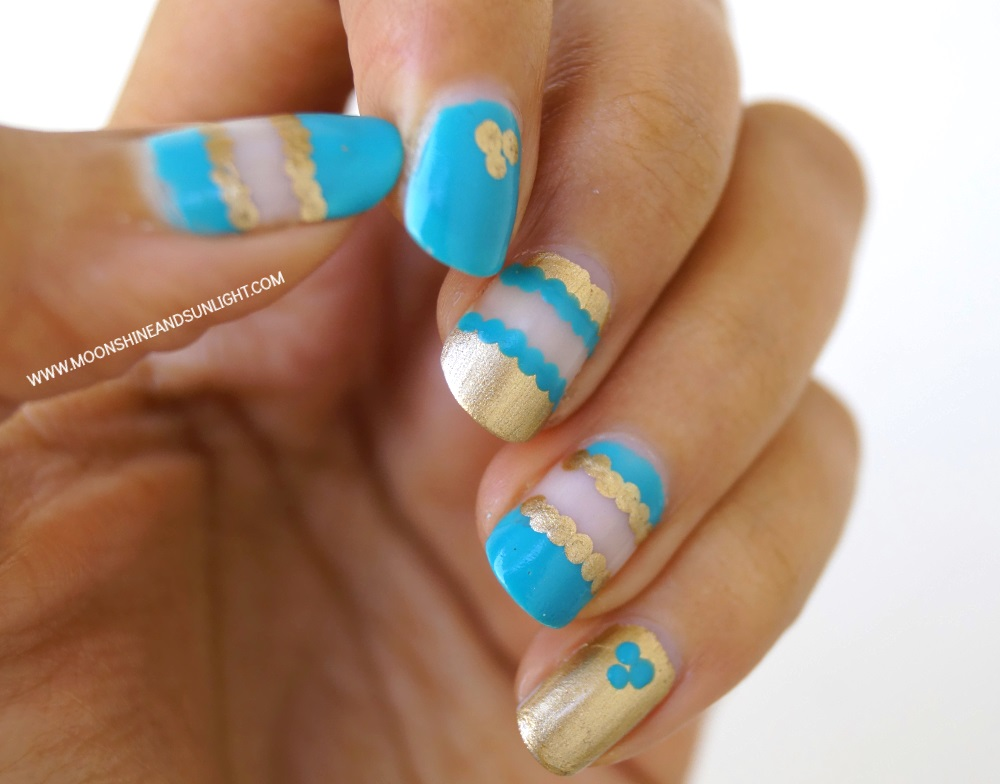 Teal and Gold Negative Space Nail art | Step by step tutorial
