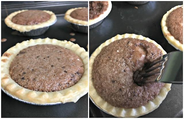 Mini Chocolate Pies - baking and rising