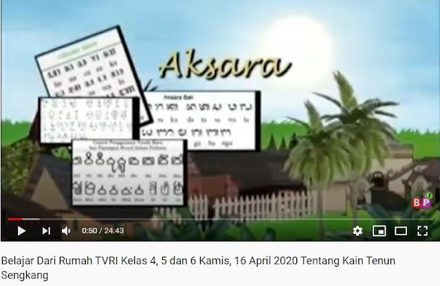 Belajar Dari Rumah TVRI Kelas 4, 5 dan 6 Kamis, 16 April 2020 Tentang Kain Tenun Sengkang