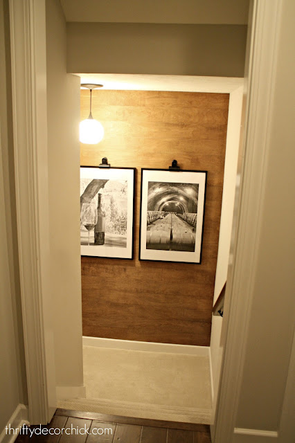 Fun wall treatment for the stair landing