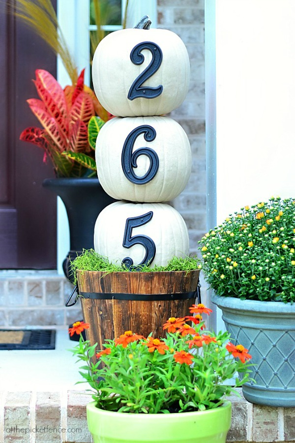 House Numbers and Pumpkin Topiary from At the Picket Fence