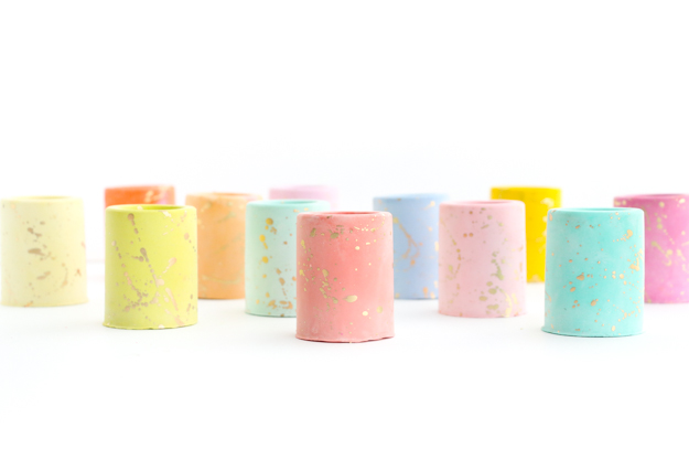 DIY Gold Splattered Pastel Colored Mini Plaster Planters - DIY gift ideas - Christmas gift idea - homemade - plaster succulent planters - Target