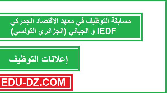 مسابقة التوظيف في معهد الاقتصاد الجمركي و الجبائي (الجزائري التونسي) IEDF