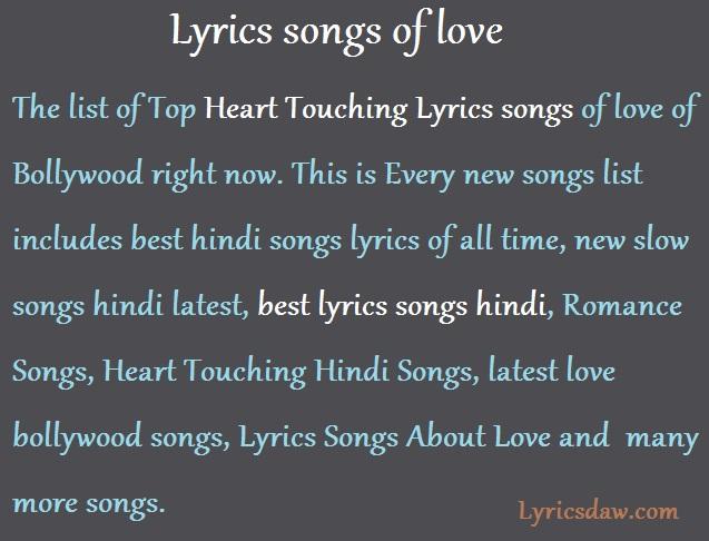 Lyrics songs of love