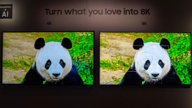 實際升頻畫面的比較,可以看到同樣的4K 影片在 8K 電視(右)下細節就是比 4K 電視(左)更為清楚