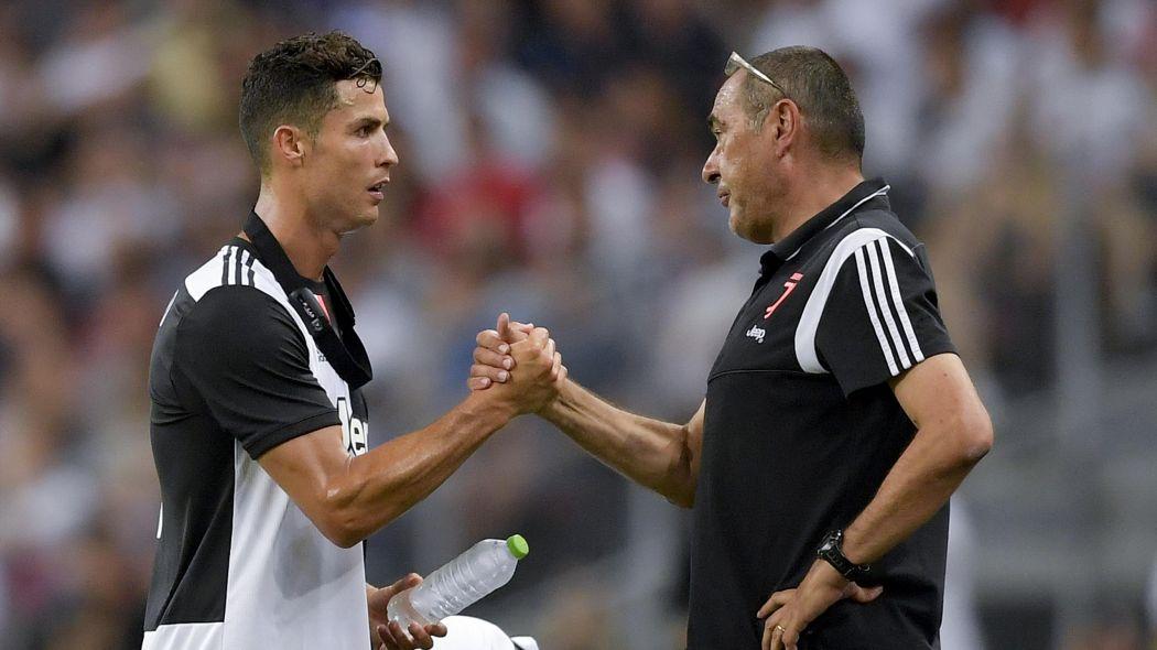Juventus boss Maurizio Sarri and star forward Cristiano Ronaldo