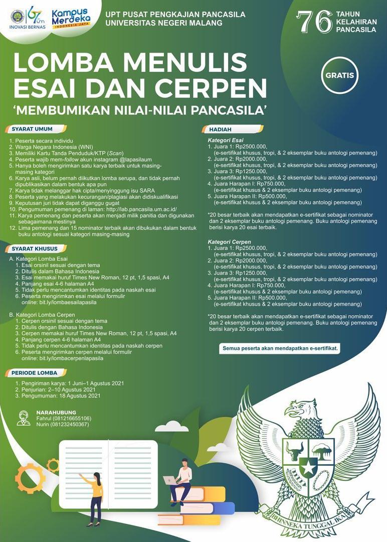 Lomba Menulis Esai dan Cerpen oleh UPT PP Universitas Negeri Malang