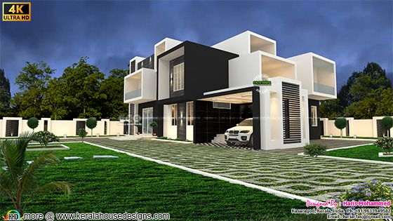 4 bedroom attached ultra modern box model house rendering