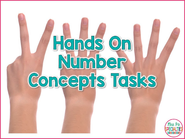 Hands on tasks are the perfect way to teach, practice, generalize and assess number concepts. Students want to take a turn and they are generally activities that you can use over and over which saves you time.