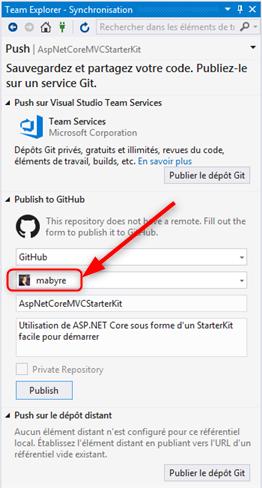 Visual Studio - Valider un nouveau projet pour GitHub