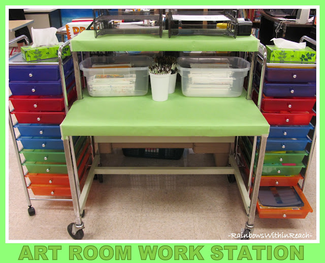 photo of: Art Room Work Station (Art Room RoundUP via RainbowsWithinReach)