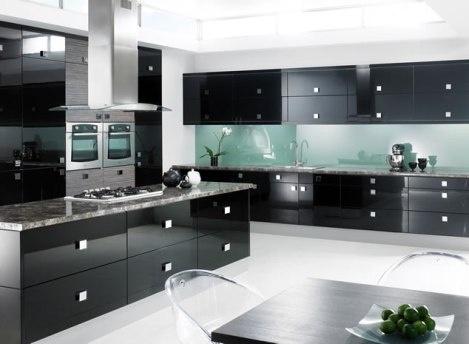 Con elegantes cocinas con elegante gabinetes negros - Cocinas ...