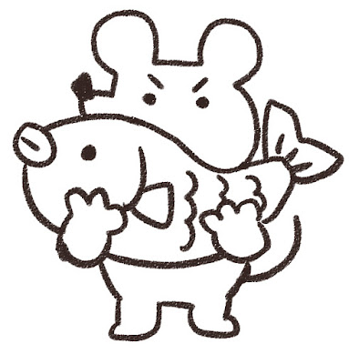 鯛を持ち上げるネズミのイラスト(子年)白黒線画