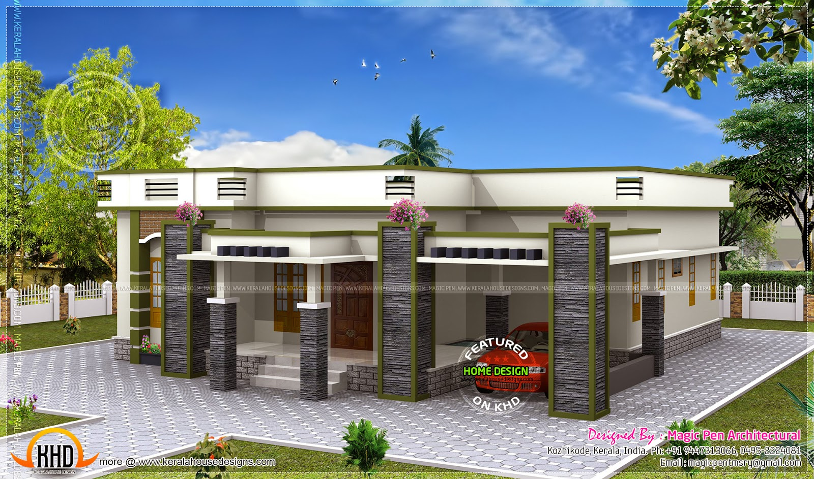 Single floor house flat roof kerala home design and for One level home designs