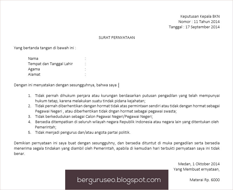 Contoh Surat Pernyataan Kesanggupan Diri Yang Baik Dan Benar