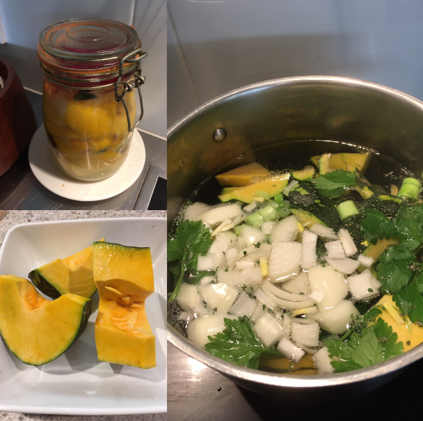 Three pictures: preserved lemons, pumpkin in a dish and stock