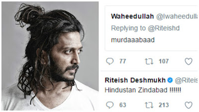Riteish Desmukh Reply to a fan who commented Murdaabaad on Twitter