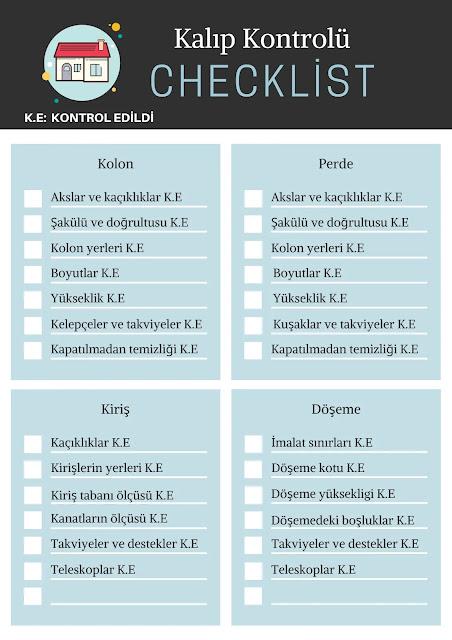 şantiyede kalıp kontrolü listesi, checklist