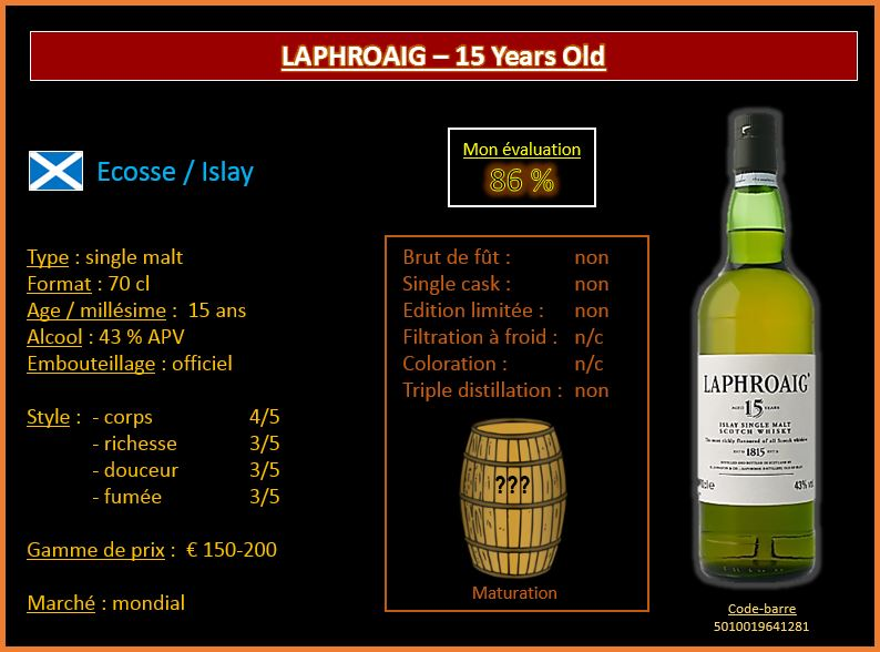 Review #524: Laphroaig 15 Years Old