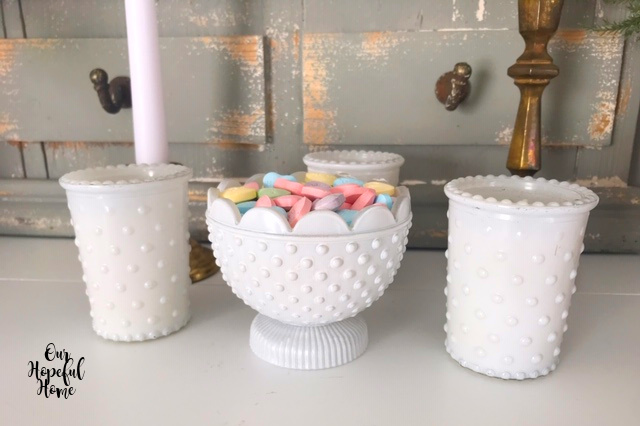 milk glass candle holders candy dish