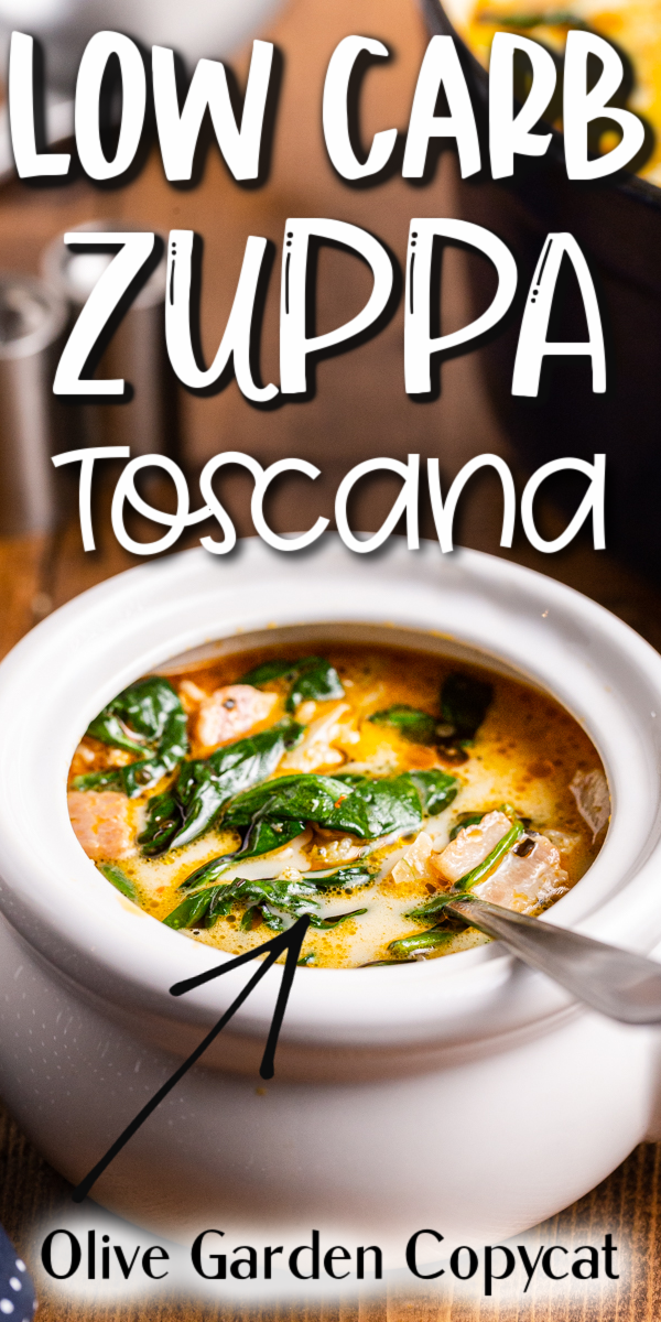 Low Carb Zuppa Toscana - This copycat version of Olive Garden Zuppa Toscana Soup is low carb and gluten-free with keto Italian sausage, bacon, cauliflower, and spinach. It is the perfect hearty soup for the cold fall and winter nights! #lowcarb #keto #glutenfree #olivegarden #copycat #zuppatoscana #soup #recipe