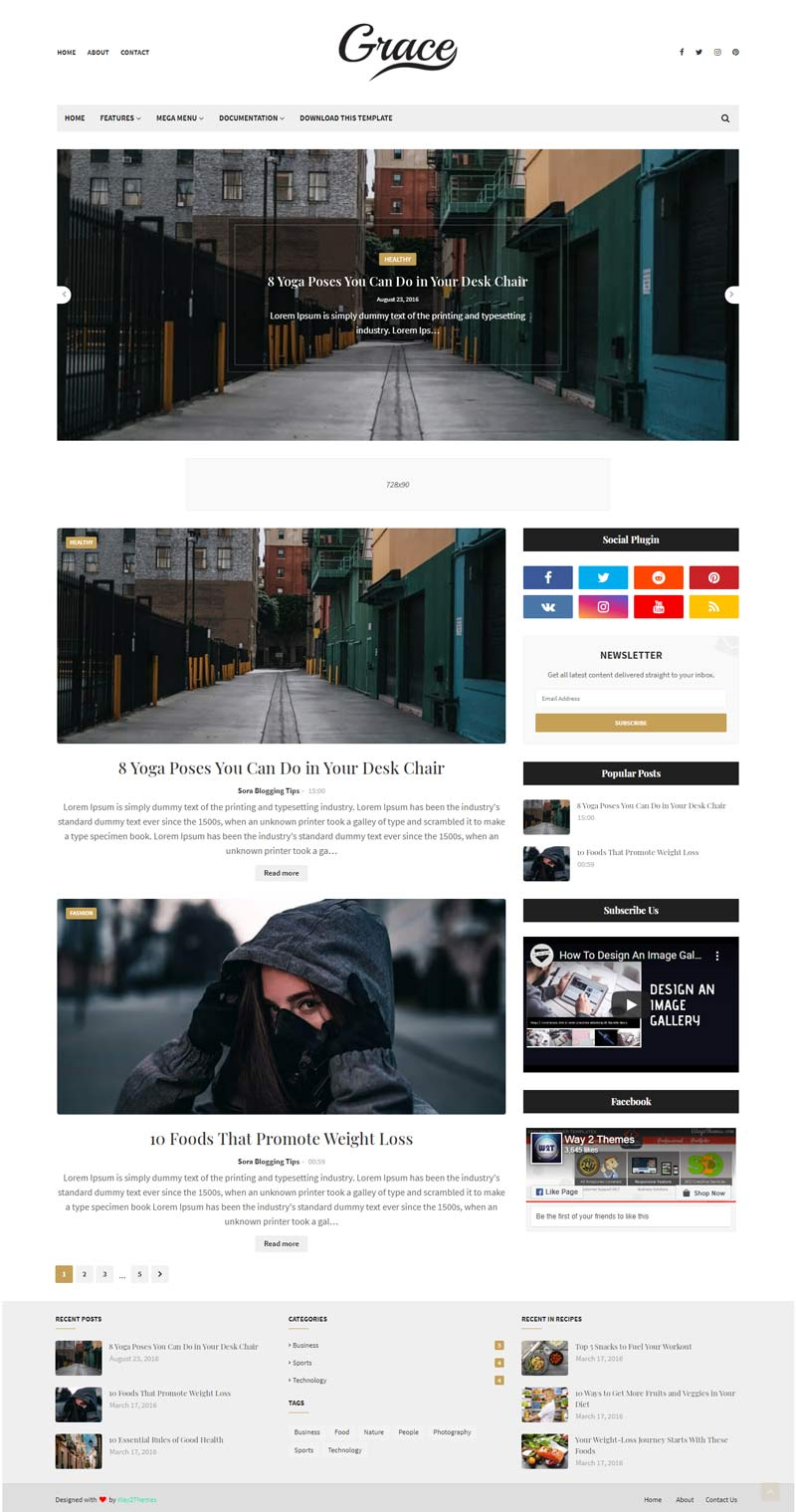 Grace simple clean and responsive Blogger Template