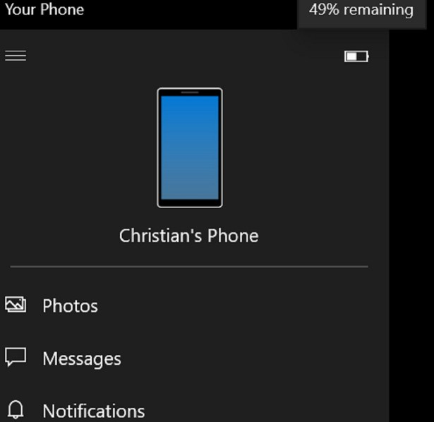Windows 10's Your Phone application will get a battery pointer soon, and possibly calls, as well