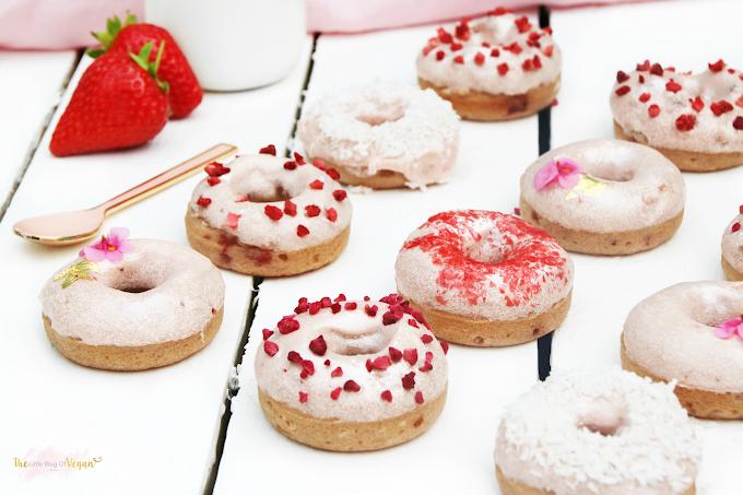 Gluten Free Vegan Baked Strawberry Donuts #desserts #cakerecipe #chocolate #fingerfood #easy