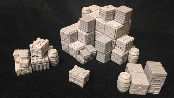 Crooked Dice Science Fiction Starport Cargo Crates and Oil Drums