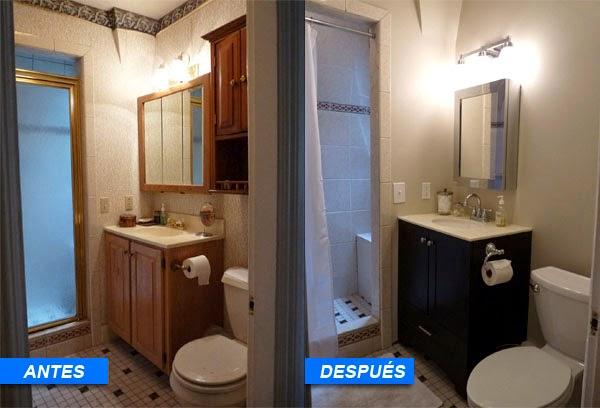 Antes y despues de un baño tueando con mueble reciclado y espejo nuevo