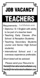 Lowongan Kerja Guru International School Batam