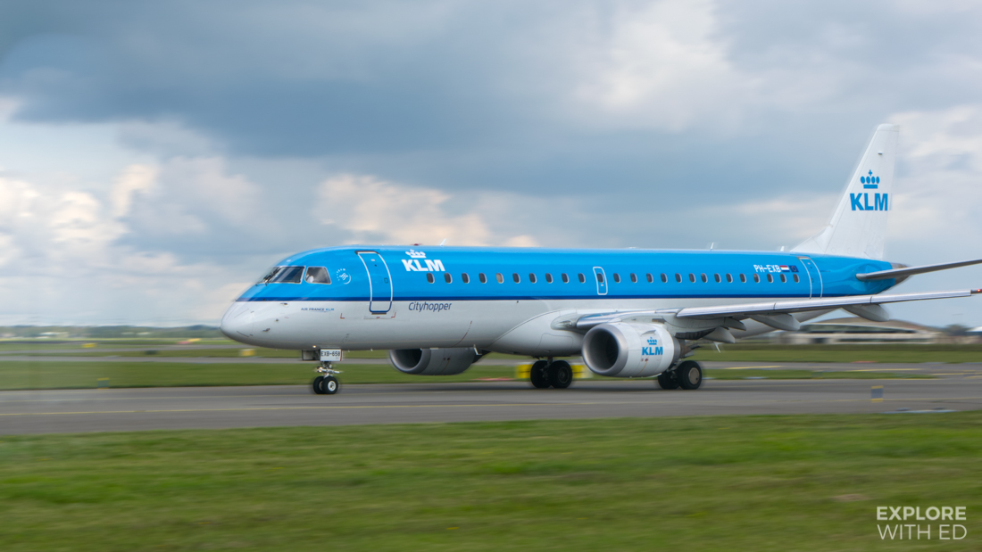 KLM Cityhopper taking off at Schiphol Airport