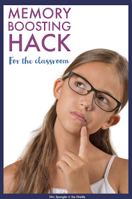 Quick and Easy Memory Improvement Idea for your Middle School Classroom!  #memory #teaching