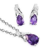 """Amethyst Dangle Drop Earrings Chain Pendant Necklace Jewelry Set 20"""""""